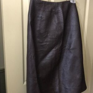 Ann Taylor Brown leather skirt knee length size 8